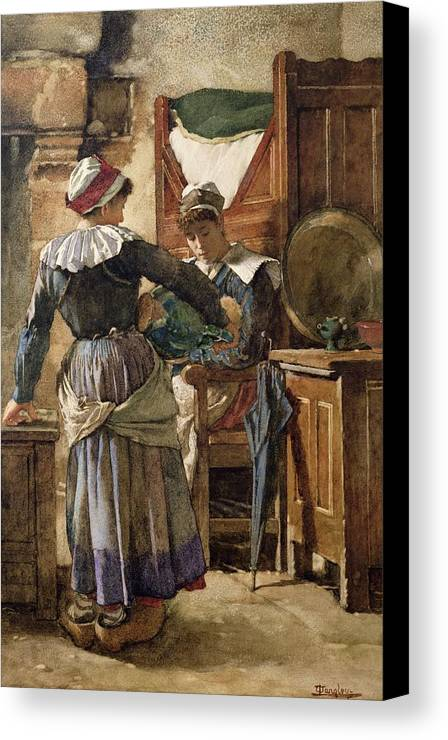 Her Canvas Print featuring the painting Her First Born by Walter Langley