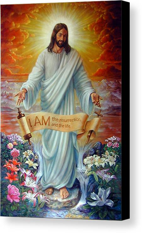 Jesus Christ Canvas Print featuring the painting I Am The Resurrection by John Lautermilch