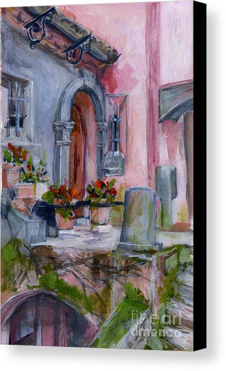 Landscape Canvas Print featuring the painting Italy003 Somewhere In Sicily by Silvana Siudut