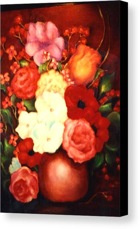 Flowers Canvas Print featuring the painting Jewel Flowers by Jordana Sands