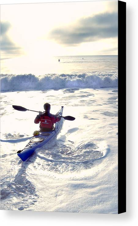 Kayaker Canvas Print featuring the photograph Kayakers Sunrise by Robert Ponzoni