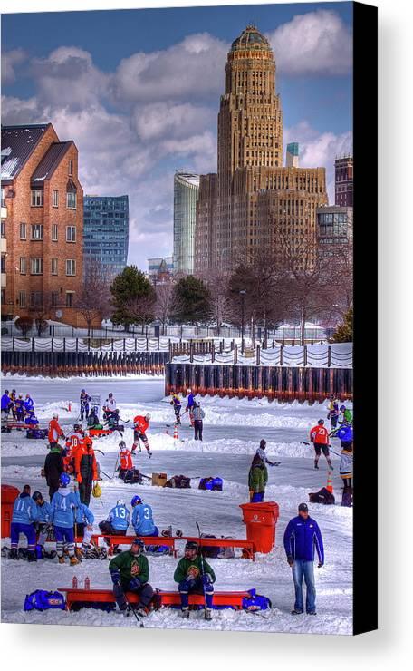Buffalo Canvas Print featuring the photograph Labatt Pond Hockey 2011 by Don Nieman