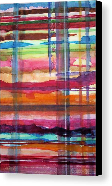 Abstract Canvas Print featuring the painting Layered by Suzanne Udell Levinger