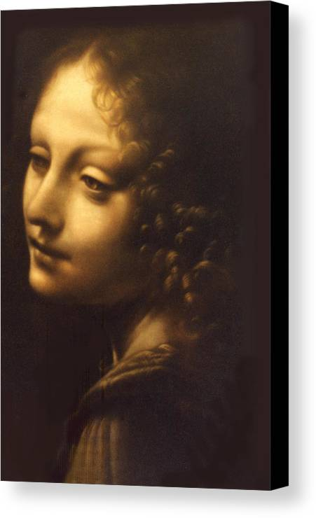 Angel Canvas Print featuring the painting Leonardo- Angel From The Madonna Of The Rocks by Paul Herman