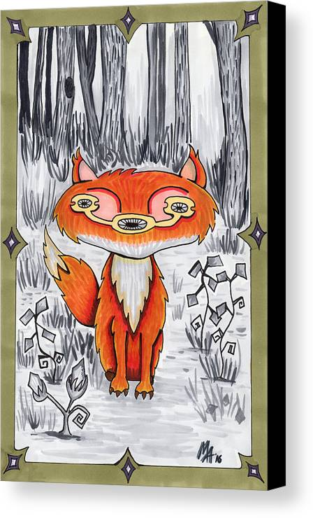 Fox Canvas Print featuring the drawing Lost In The Woods by Mia Vox
