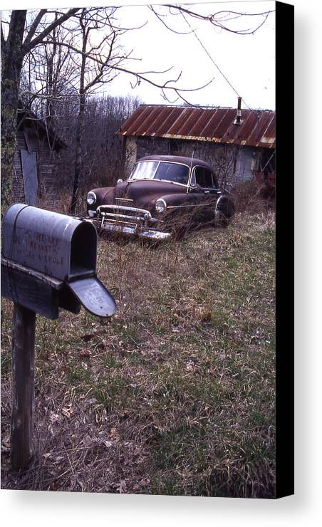 Canvas Print featuring the photograph Mailbox Car by Curtis J Neeley Jr