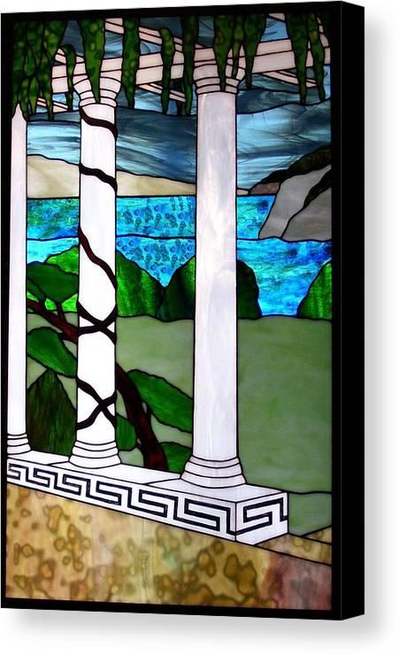 Landscape Canvas Print featuring the glass art Marina's Terrace by Barbara Harris