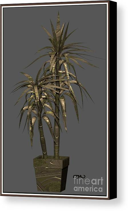 Modern Painting Canvas Print featuring the digital art Metal Plant In Pot 12 by Pemaro