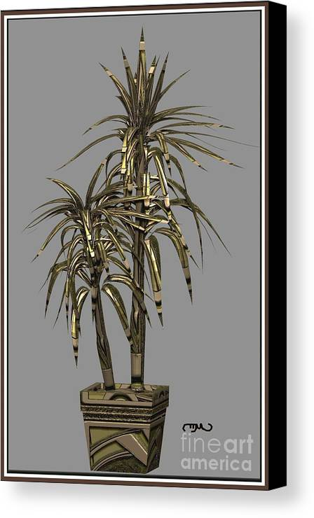 Modern Painting Canvas Print featuring the digital art Metal Plant In Pot 13 by Pemaro