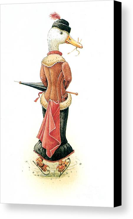 Duck Ice Skating Winter Christmas Greeting Cards Canvas Print featuring the painting Miss Duck by Kestutis Kasparavicius
