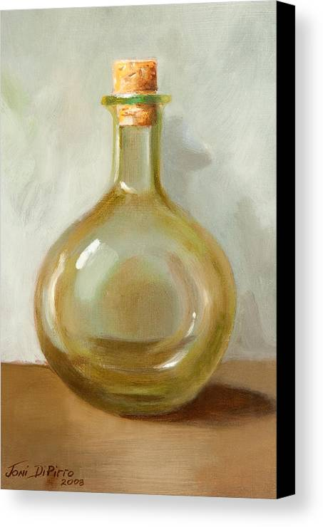 Olive Oil Canvas Print featuring the painting Olive Oil Bottle Still Life by Joni Dipirro