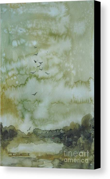 Pond Canvas Print featuring the painting On Golden Pond by Elizabeth Carr
