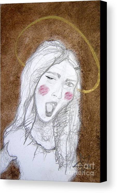 Angel Canvas Print featuring the drawing Pandora Opened The Box - ...wink...wink by Chrissa Arazny- Nordquist