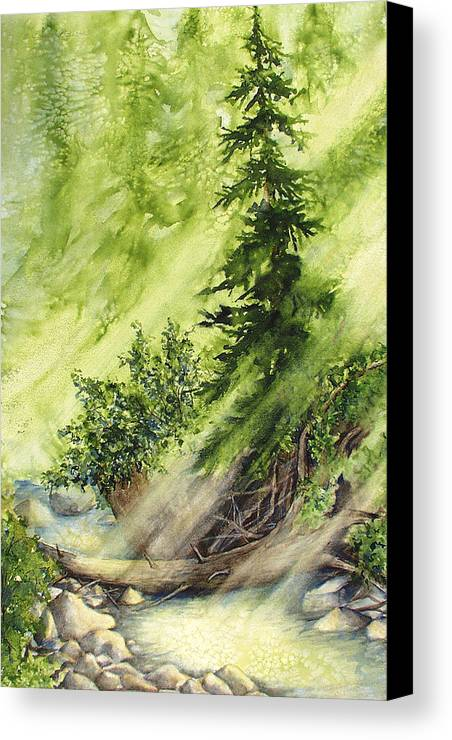 Nature Canvas Print featuring the painting Pine Creek by Connie Williams