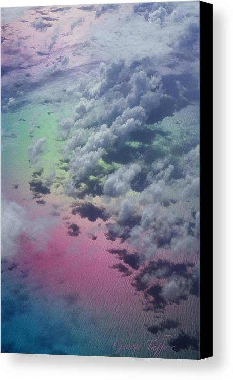 Caribbean Polarized Clouds Ocean Flight Airplanewindow Canvas Print featuring the photograph Polarized Caribbean by George Tuffy