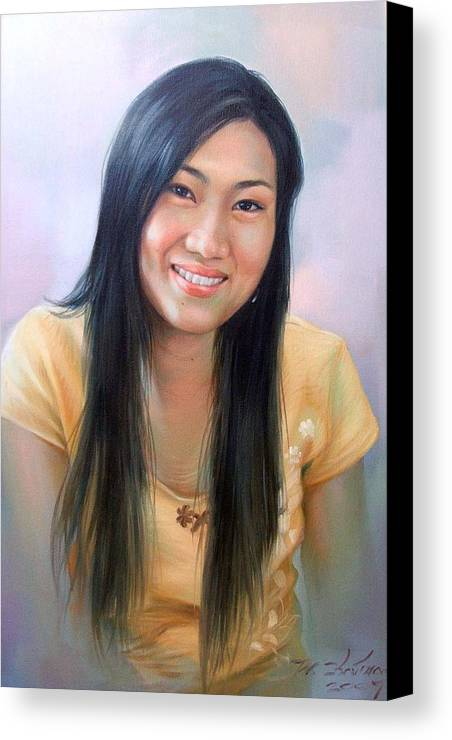 Woman Canvas Print featuring the painting Ponchan by Chonkhet Phanwichien