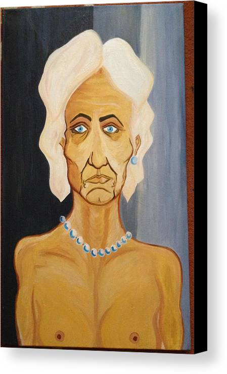 Portrait Of An Old Woman Perls Nude Eld Canvas Print featuring the painting Portrait Of An Old Woman by Costin Tudor