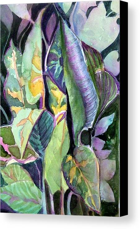 Watercolor Canvas Print featuring the painting Pray Plant by Mindy Newman
