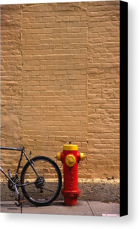 Bicycle Canvas Print featuring the photograph Quebec Hydrant by Art Ferrier