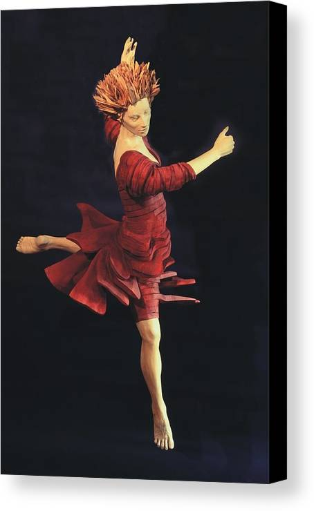 Ballerina Canvas Print featuring the sculpture Red Dancer Front View by Gordon Becker