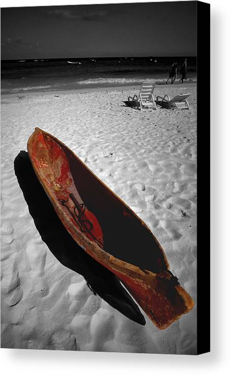 Photography Canvas Print featuring the photograph Red Paddle Boat Playa Del Carmen by Tom Fant