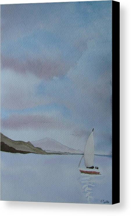 Sailboat Canvas Print featuring the painting Sailing by Liz Vernand