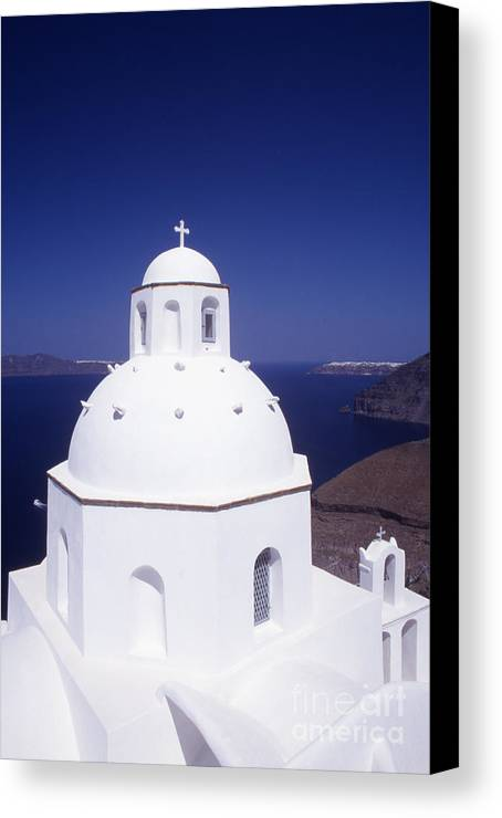 Cyclades Canvas Print featuring the photograph Santorini Church by Steve Outram