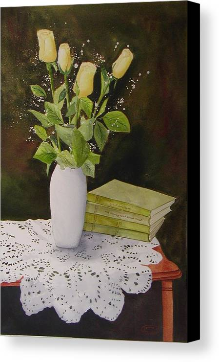 Watercolour Canvas Print featuring the painting Shaw And Yellow Roses by Sharon Steinhaus