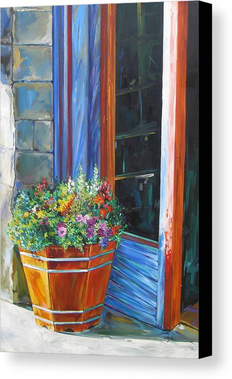 Pansy Canvas Print featuring the painting Stopping At An Entryway by Karen Doyle