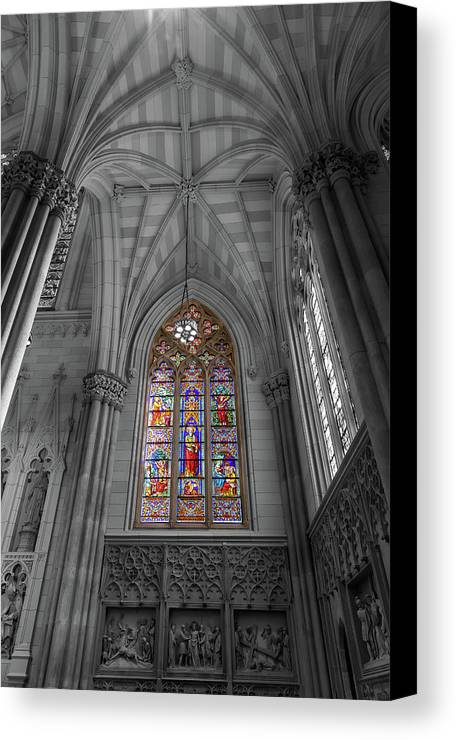 City Canvas Print featuring the photograph Structures Of St. Patrick Cathedral Bw by Jonathan Nguyen