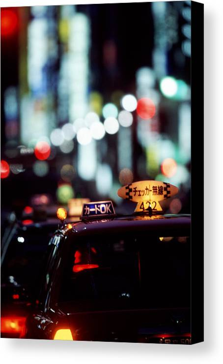 Taxi Canvas Print featuring the photograph Taxis On The Ginza by Brad Rickerby