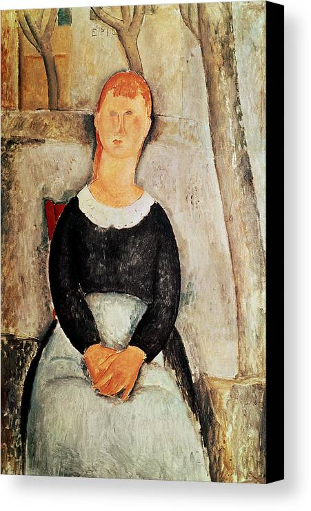The Canvas Print featuring the painting The Beautiful Grocer by Amedeo Modigliani