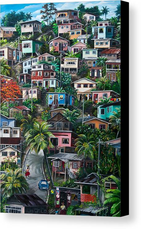 Landscape Painting Cityscape Painting Houses Painting Hill Painting Lavantille Port Of Spain Painting Trinidad And Tobago Painting Caribbean Painting Tropical Painting Caribbean Painting Original Painting Greeting Card Painting Canvas Print featuring the painting The Hill   Trinidad by Karin Dawn Kelshall- Best