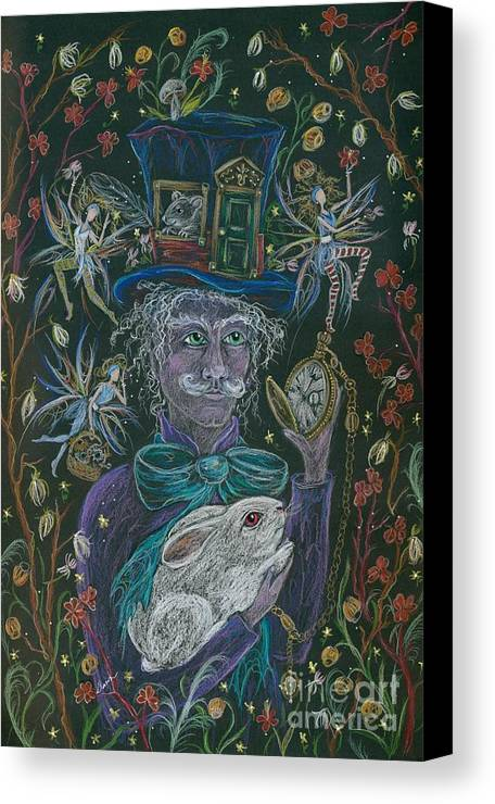 Alice In Wonderland Canvas Print featuring the drawing The Maddening Hatter by Dawn Fairies