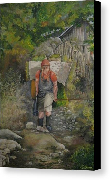 Grandmother Canvas Print featuring the painting The Old Lady by Netka Dimoska