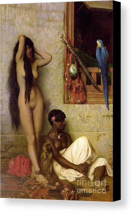 The Canvas Print featuring the painting The Slave For Sale by Jean Leon Gerome