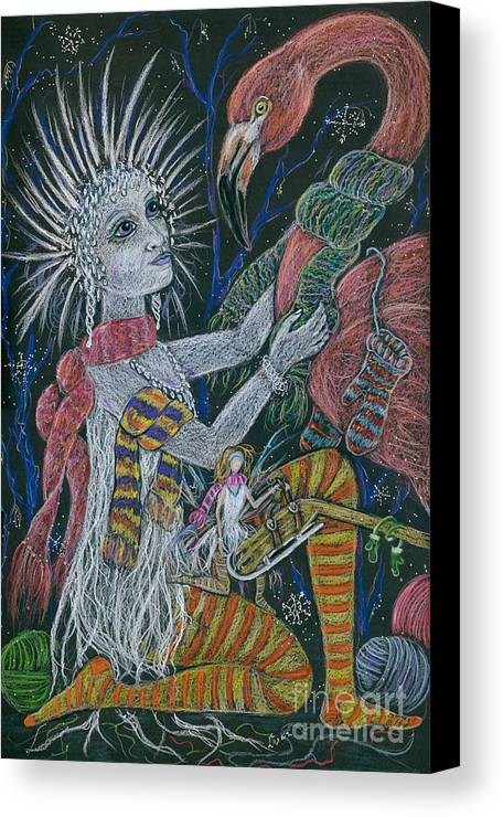 Snow Canvas Print featuring the drawing The Snow Queen by Dawn Fairies