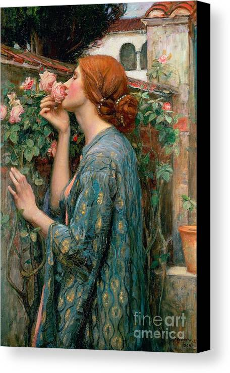 The Canvas Print featuring the painting The Soul Of The Rose by John William Waterhouse