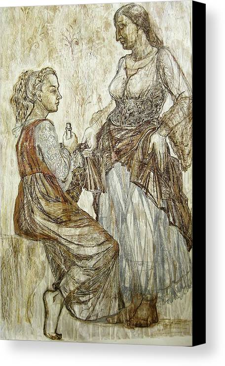 Fresco Canvas Print featuring the drawing This Was by Kseniya Nelasova