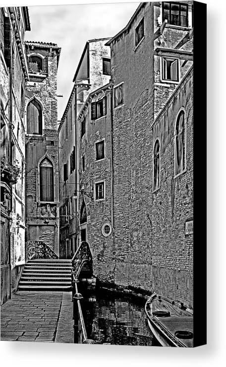 Venice In B&w Canvas Print featuring the photograph Venice 2 by Victor Yekelchik