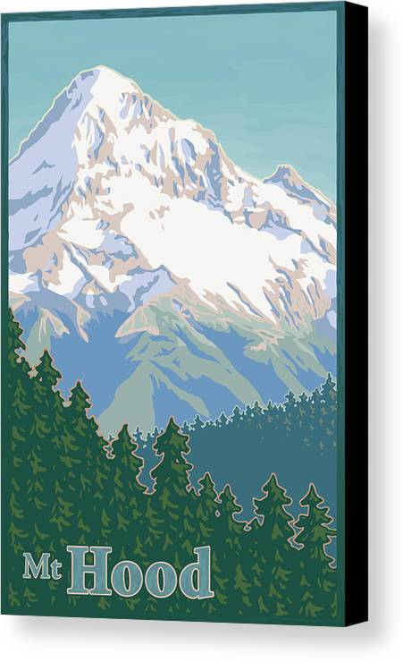 Mount Canvas Print featuring the digital art Vintage Mount Hood Travel Poster by Mitch Frey