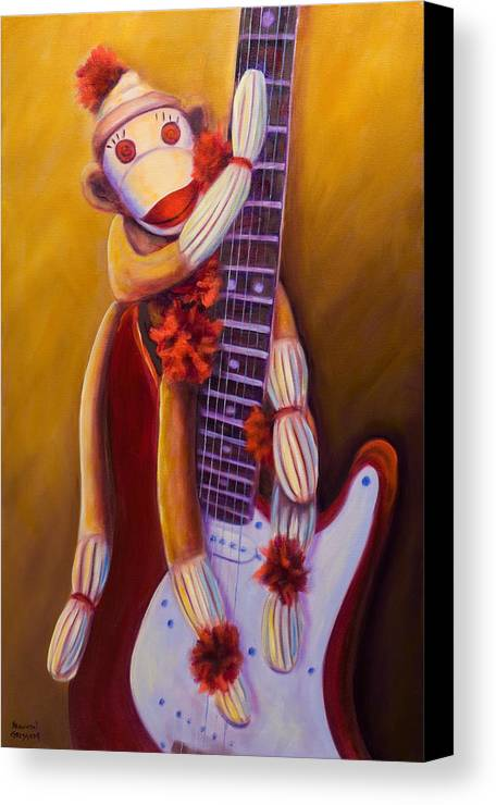 Monkey Canvas Print featuring the painting Wanna Be A Rocker by Shannon Grissom