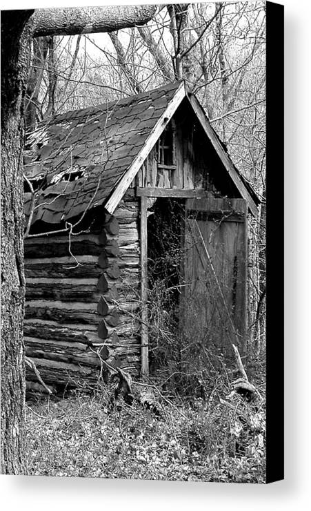 Ansel Adams Canvas Print featuring the photograph Winslowlogouthouse-11x17 by Curtis J Neeley Jr