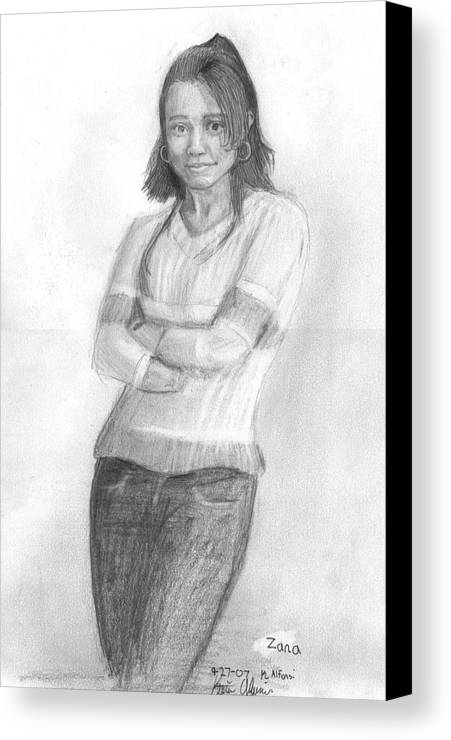 Canvas Print featuring the drawing Zana by Katie Alfonsi
