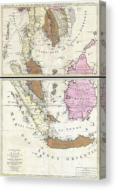 image relating to Printable Map of Southeast Asia identify 1710 Ottens Map Of Southeast Asia Singapore Thailand Siam Malaysia Sumatra Borneo Canvas Print