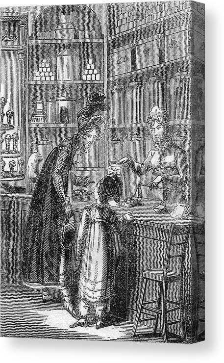 Confectioner Canvas Print featuring the drawing A Young Well-off Mother Spoils by Mary Evans Picture Library