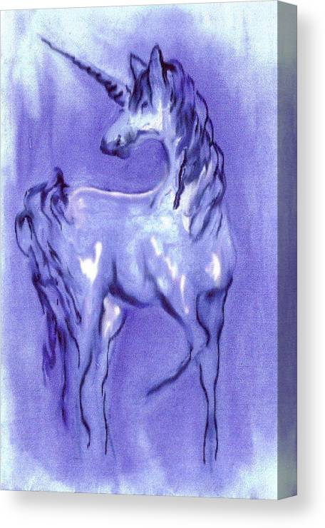 Unicorn Canvas Print featuring the digital art Blue Unicorn by Carol Rowland