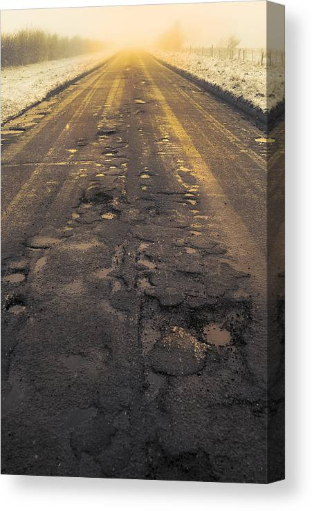 Cold Canvas Print featuring the photograph Broken Road by Svetlana Sewell