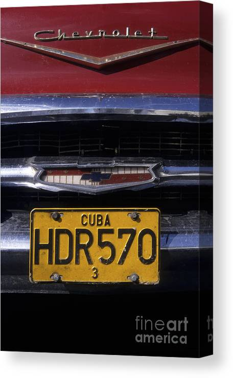 Cuba Canvas Print featuring the photograph Classic Chevy In Cuba by James Brunker