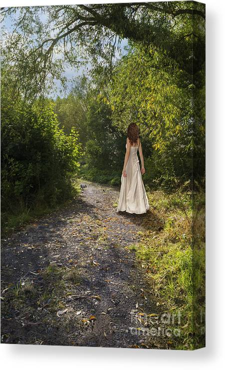 Girl Canvas Print featuring the photograph Girl In Country Lane by Amanda Elwell